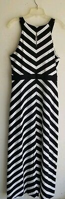 Sexy NWT White House Black Market Stripe Maxi Dress Tall size Large
