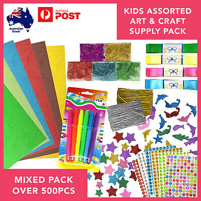 Arts & Crafts Supplies Variety Bundle over 500pcs Kids Creative Holiday Activity