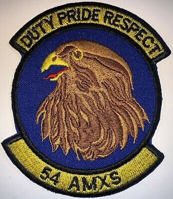 USAF 54th AMXS Duty Pride Respect Patch Hook & Sew Repro New A277
