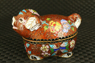chinese cloisonne hand painting lovely pig statue Jewel box collection Antique