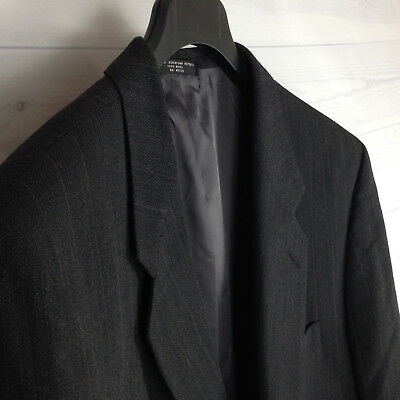 Jones New York 100% Gray Wool Mens 46R Striped Three Button Suit Coat Jacket