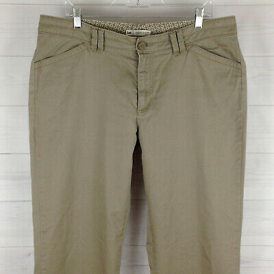 LEE womens size 16 stretch solid taupe brown mid rise bootcut flat chino pants