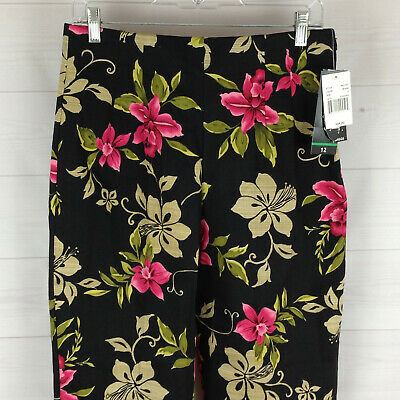 NWT Briggs New York womens sz 12 stretch black pink floral comfort cropped pants