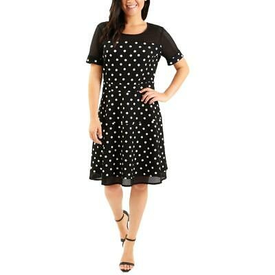 NY Collection Womens Black Polka Dot Cocktail Party Dress Petites PM BHFO 0427