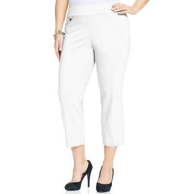 Alfani Womens White Twill Stretch Tummy Control Capri Pants Plus 20W BHFO 7487
