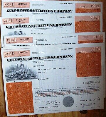 Lot of 10 stock certificates Gulf States Utilities Comp. + docum + # in sequence