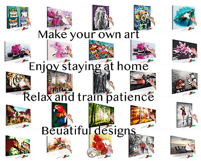 Painting by numbers easy to use kit with paint and brushes adult&child home DIY