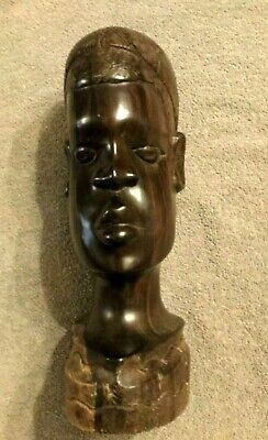 Solid Wood Hand Carved Tribal Bust Sculpture Ebony/Ironwood 12""