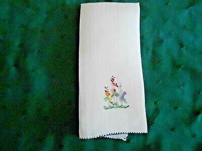 Lovely Antique White Linen Towel With Petti-Point Hand Embroidery, Circa 1930