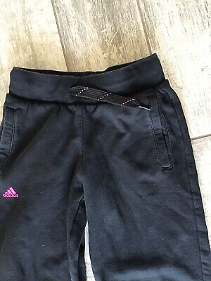 Adidas Black Climate Cotton Girls Joggers - Uk 9-10