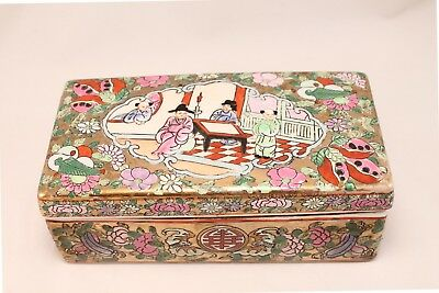 Vintage Chinese Famille Rose Porcelain Enamel Rectangular Box Jewelry Trinket