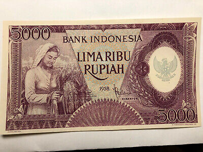 Scarce Old Genuine Indonesia 5000 Rupiah 1958 Banknote Note Uncirculated UNC