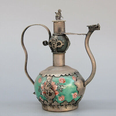 Collectable China Old Miao Silver Armour Jade Carve Phoenix Monkey Unique Teapot
