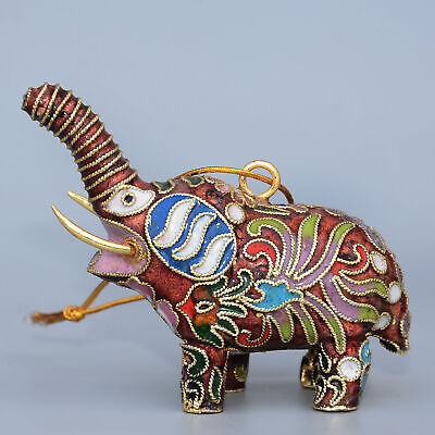 Collectable China Old Cloisonne Hand-Carve Lovely Elephant Delicate Noble Statue