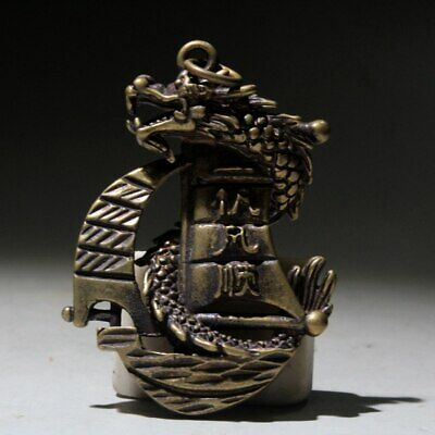 China Collectable Old Copper Handwork Carve Myth Dragon Boat Exorcism Pendant