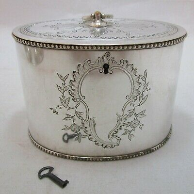 Very Rare Antique Georgian Old Sheffield Plate Silver tea caddy, c1780, and key