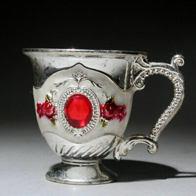 Collection China Handwork Miao Silver Mosaic Crystal Delicate Beautiful Wine Cup