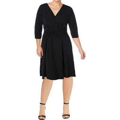 NY Collection Womens Black Ruched A-Line Party Cocktail Dress Plus 1X BHFO 5500