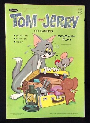 Vintage TOM AND JERRY Go Camping 1967 MGM Sticker Fun Coloring Book Whitman USA