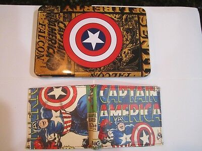 Avengers Captain America Slim-Fold Wallet Collector Tin & Patch Marvel New 0064