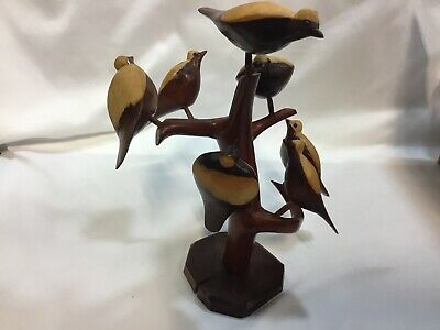 Vintage Folk Art Hand Carved Carving of 7nBirds in a Tree Sculpture Primitive