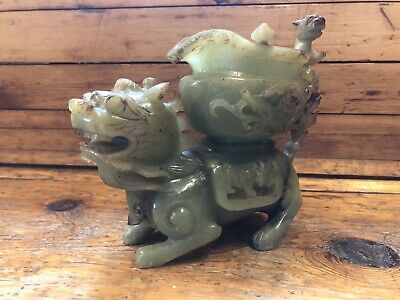 Antique Large Carved Jade Foo Dog / Dragon with Bats