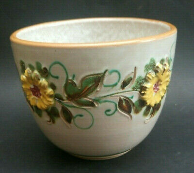 Vintage Retro Plant Pot Urn Nicely Glazed With Raised Floral Vine Pattern Italy