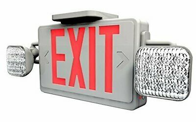 Ciata Lighting LED Red Exit Sign & Emergency Light Combo with Battery Backup