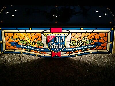 1981 Heileman's Old Style Beer Sign Bar Pool Table Light Stained Glass EUC