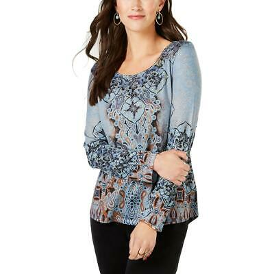 Style & Co. Womens Blue Printed Studded Blouse Top Shirt L BHFO 4727