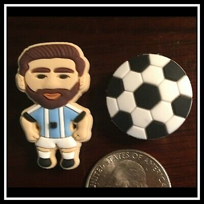 Set of 2 Shoe Charms for Crocs Soccer Ball (Football) and Player Messi