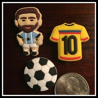 Set of 3 Shoe Charms for Crocs Soccer Ball (Football) Pele Jersey & Player Messi