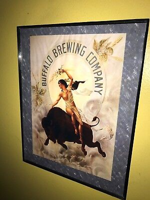 Buffalo Brewing Co. New York Beer Bar Framed Advertising Print Man Cave Sign