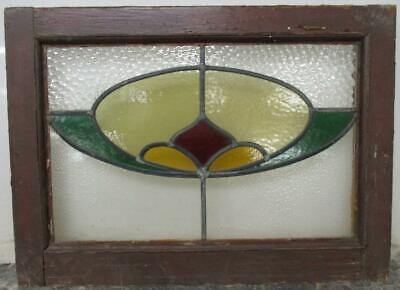"""OLD ENGLISH LEADED STAINED GLASS WINDOW Pretty Abstract Design 20.5"""" x 15"""""""