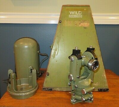 Wild Heerbrugg Theodolite T1A Transit with Original Bullet Case & Carrying Case