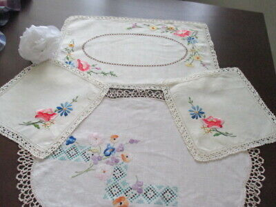 Vintage Retro Floral Duchess Doily Set. Hand Embroidered Linen + Centrepiece.WOW