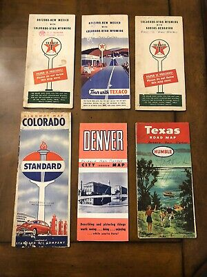 Vintage USA Travel Road Maps Lot of (6) Texaco -Standard - Humble