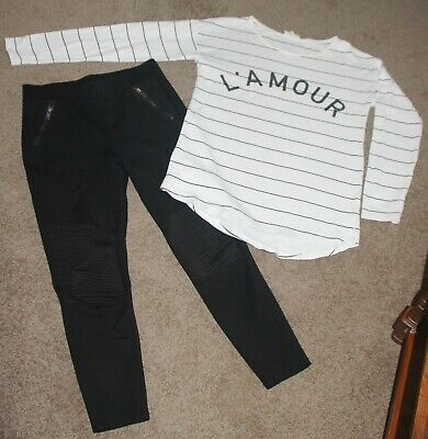 Seed B&W Striped Sequinned L'amour Sweat Top Xs & Seed Black Jodphur Pants Sm