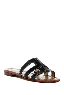 NEW Sam Edelman Womens Berit BLACK Leather Slide Sandals Shoes 8.5 M