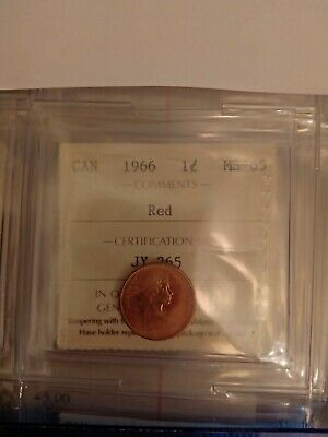 1966 Canada 1 Cent Penny Ms-65 Iccs Graded Red Jy 265