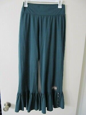 Matilda Jane womens Big Ruffle Cropped pants Jasper Green sz Medium