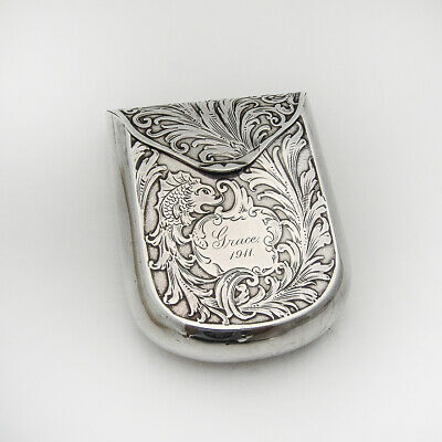 Acid Etched Dolphin Playing Card Case Sterling Silver Mono Grace 1911
