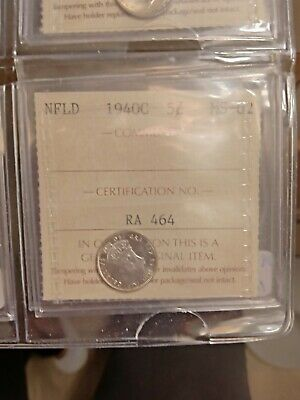 1940C Newfoundland CANADA 5 FIVE CENT COIN MS-62 ICCS GRADED RA 464