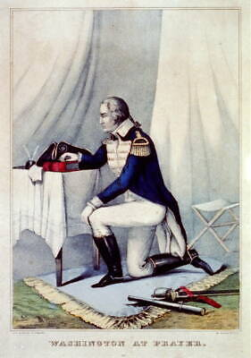 George Washington at prayer,1840-1860,Currier & Ives Photo,kneeling,table