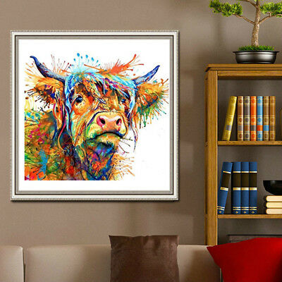NE_ KQ_ CO_ Abstract Cow Canvas Wall Painting Art Living Room Home Decor Unframe
