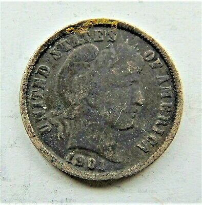 1901 UNITED STATES, Barber Dime grading VERY  GOOD.