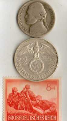 #-5)-*Rare WWII- *German Stamp+ WWII-*German and *us  SILVER   coins