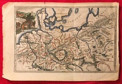 Germanic Tribes Cellarius 1711 Nicholson engraved map Handcolored