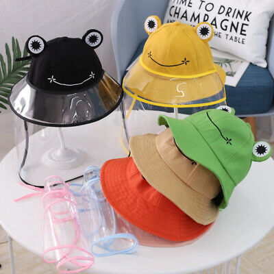 Kids Frog Removable Anti-Droplet Full Face Cover Protect Bucket Hat Cap Eyeful