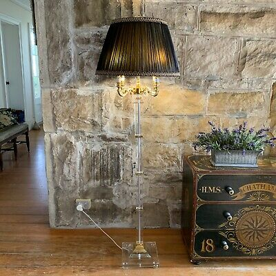 Crystal Glass Candelabra Chandelier Standing Floor Lamp~4 Arm~Gold Plated~French
